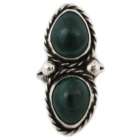 Sterling Silver Ring w/ Twin Malachite Stones, Size 9