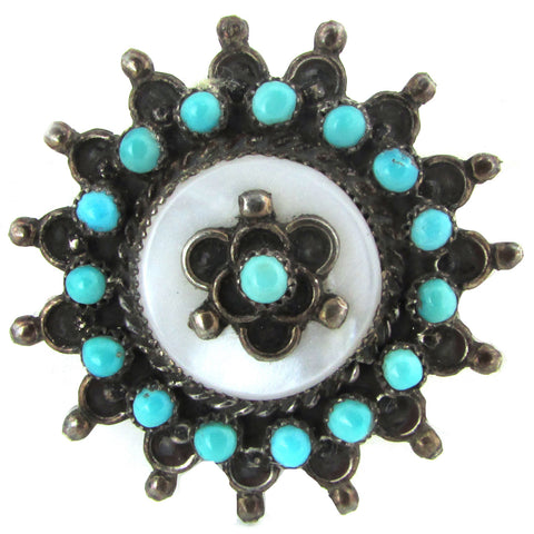 Sterling Silver Signed Zuni Brooch w/ Turquoise & Mother of Pearl