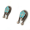 Sterling Silver Zuni Earrings w/ Dishta-Style Turquoise Inlay