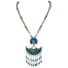 Turquoise Navajo Pendant & Silver Bead Necklace