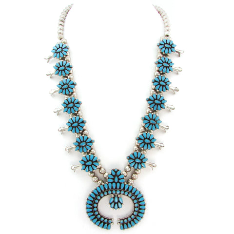 Zuni Turquoise Cluster Squash Blossom Necklace
