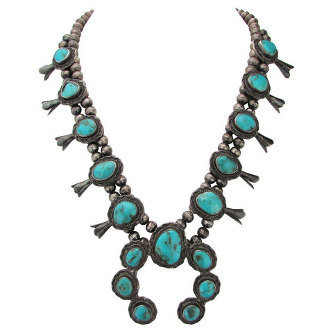 1960s Squash Blossom Necklace w/ Turquoise