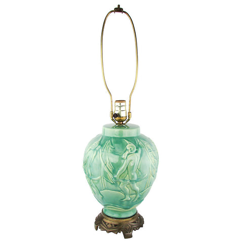 Art Deco Greek Archers Teal Ceramic Lamp w/ Bronze Base