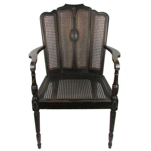 Antique Caned Federal-Style Wingback Armchair
