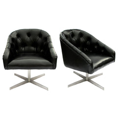 Midcentury Tufted Swivel Chairs, Pair by Chicago maker Shelby Williams