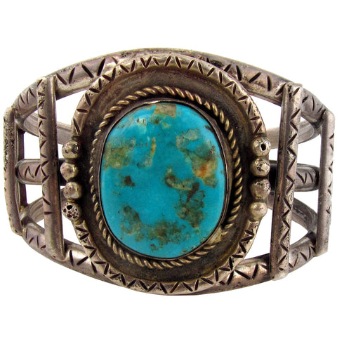 Navajo Silver Cage Bracelet w/ Turquoise