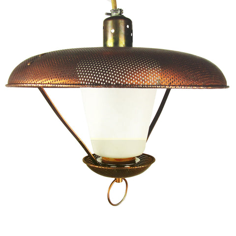Perforated Copper Ranch Light Fixture w/ Extension Mechanism