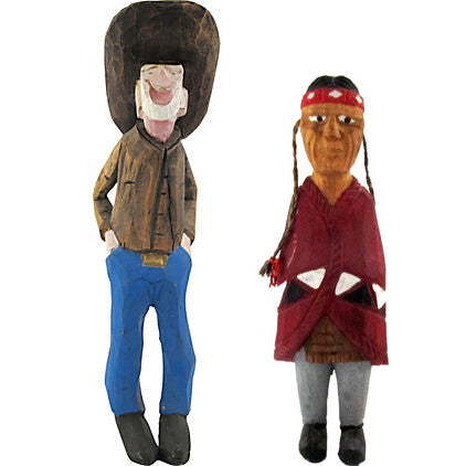 Folk Art Carved Cowboy & Indian