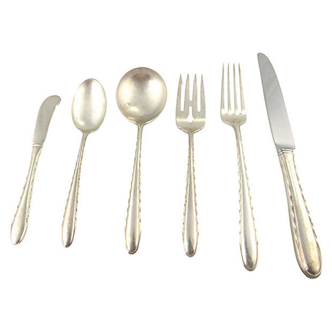 Silver Flutes Sterling Flatware, Svc. for 6