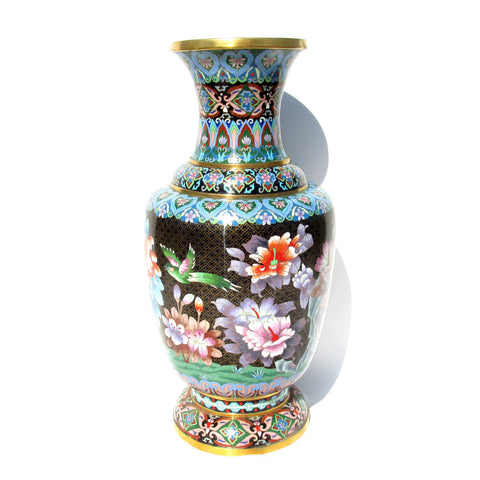 Very Large Cloisonne Enamal Urn with Birds and Flowers
