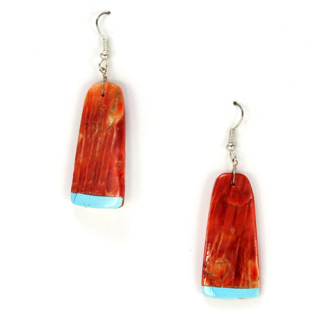 Spiny Shell Oyster with Turquoise Inlay Earrings