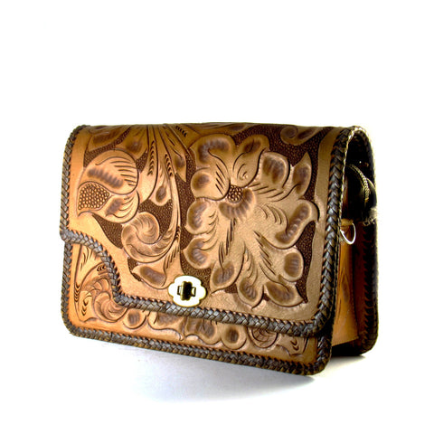 Hand-carved and Laced Leather Handbag