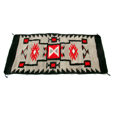 SOLD Mexican Hand Woven Rug- Black, Red, White and Grey