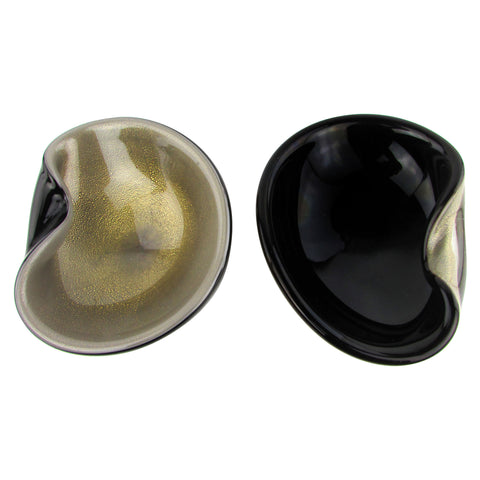 Positive/Negative Gold & Black Murano Bowls, Pair