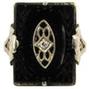 Antique White Gold, Onyx & Diamond Ring
