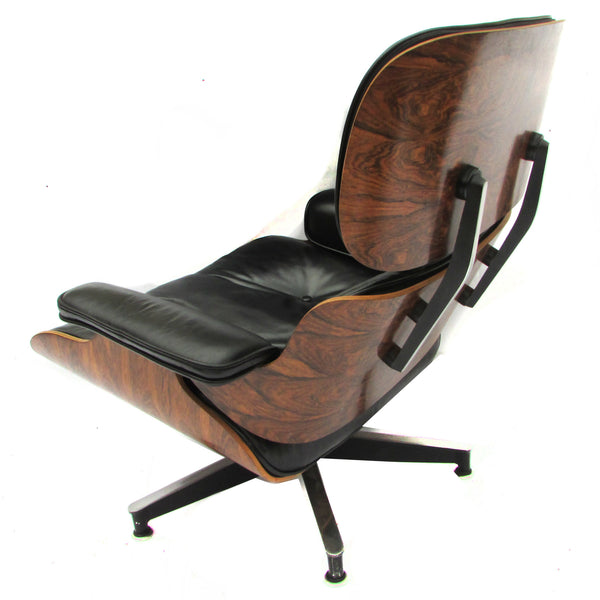1960s herman miller black leather rosewood eames 670 lounges w 671 ottomans pair