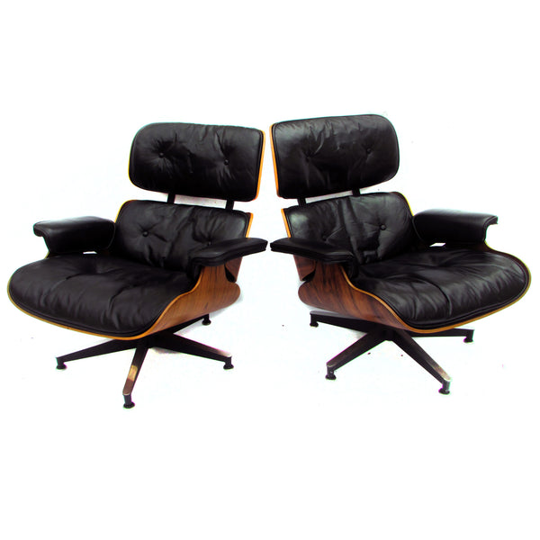 1960s Herman Miller Black Leather Rosewood Eames 670 Lounges W/ 671  Ottomans, Pair