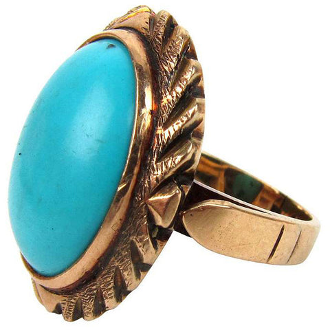 14K Gold Ring w/ Turquoise Cabochon, Size 4.5