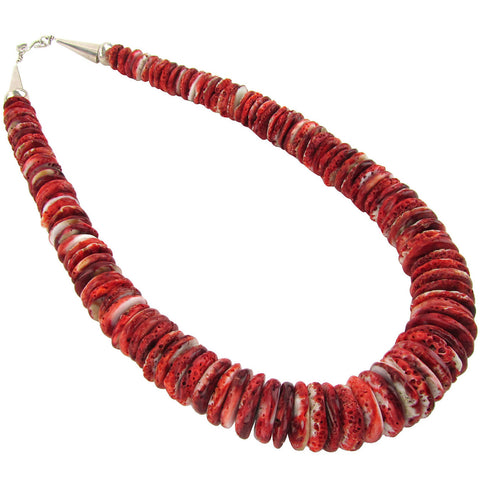 Large Red Shell Disk Necklace
