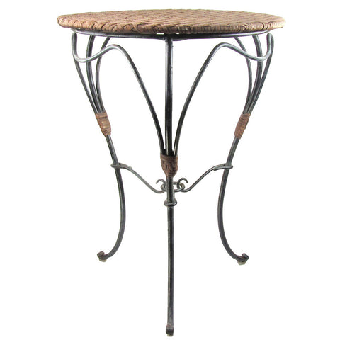 Wrought Iron & Wicker Side Table