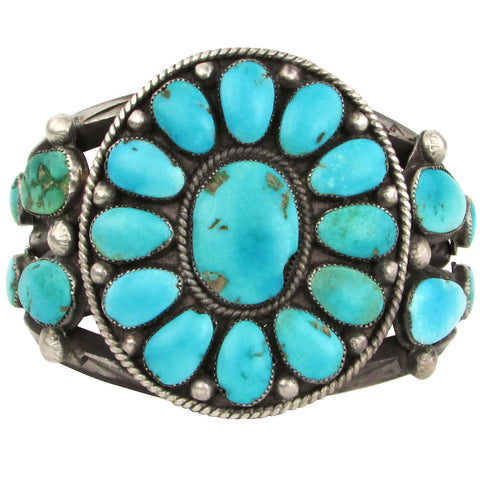 Heavy Silver Navajo Turquoise Cuff