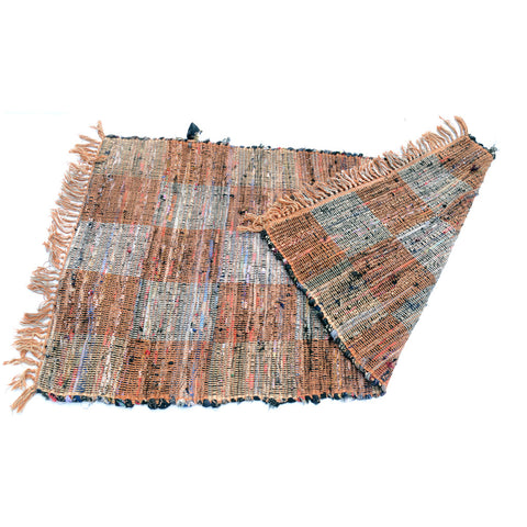 Depression Era Rag Rug in Checker Pattern