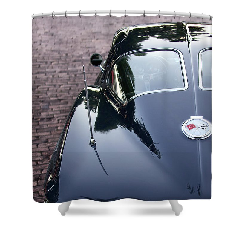 63 Split Window Corvette Shower Curtain - SEVENART STUDIO
