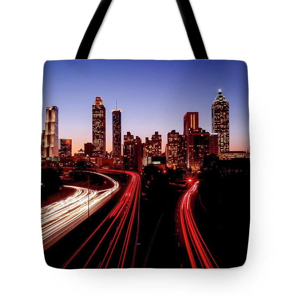 Atlanta At Night - Tote Bag - SEVENART STUDIO