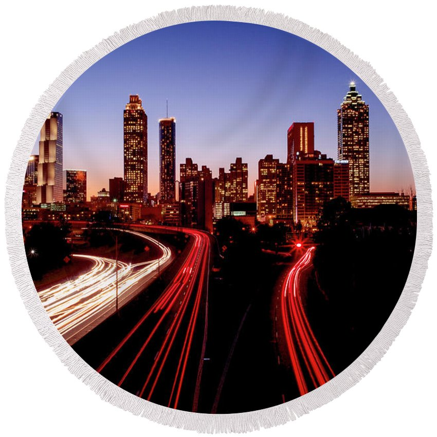 Atlanta At Night - Round Beach Towel - SEVENART STUDIO