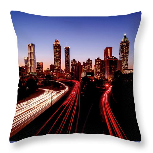 Atlanta At Night - Throw Pillow - sevenart-studio