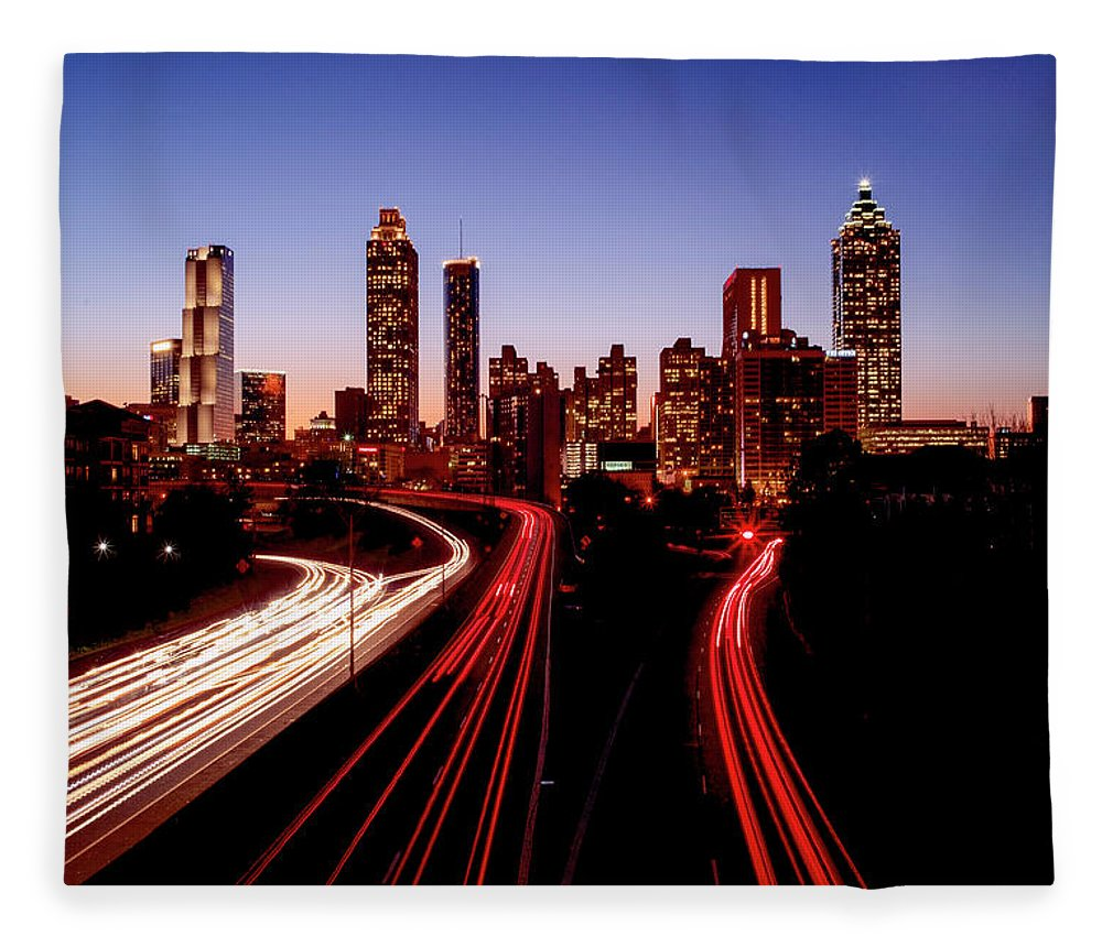 Atlanta At Night - Blanket - SEVENART STUDIO