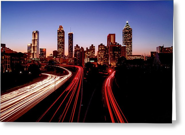 Atlanta At Night - Greeting Card - SEVENART STUDIO