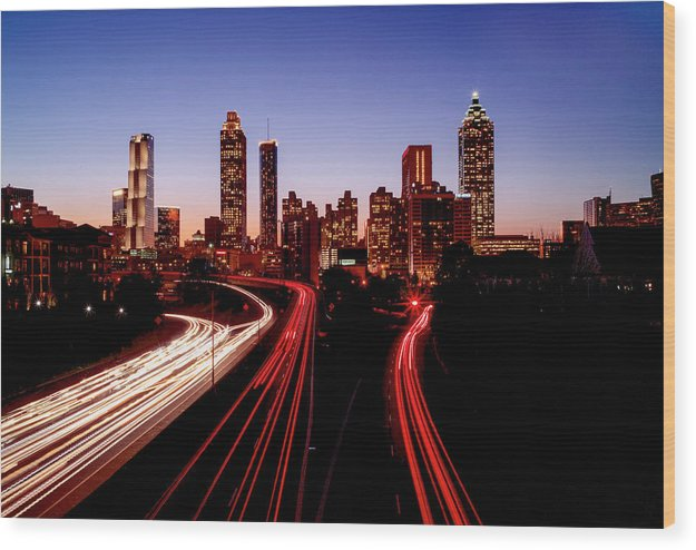 Atlanta At Night - Wood Print - sevenart-studio