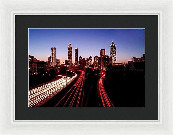 Atlanta At Night - Framed Print - SEVENART STUDIO