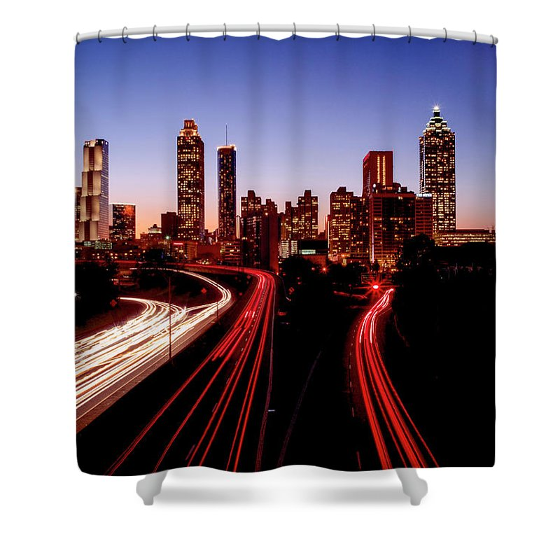 Atlanta At Night - Shower Curtain - sevenart-studio