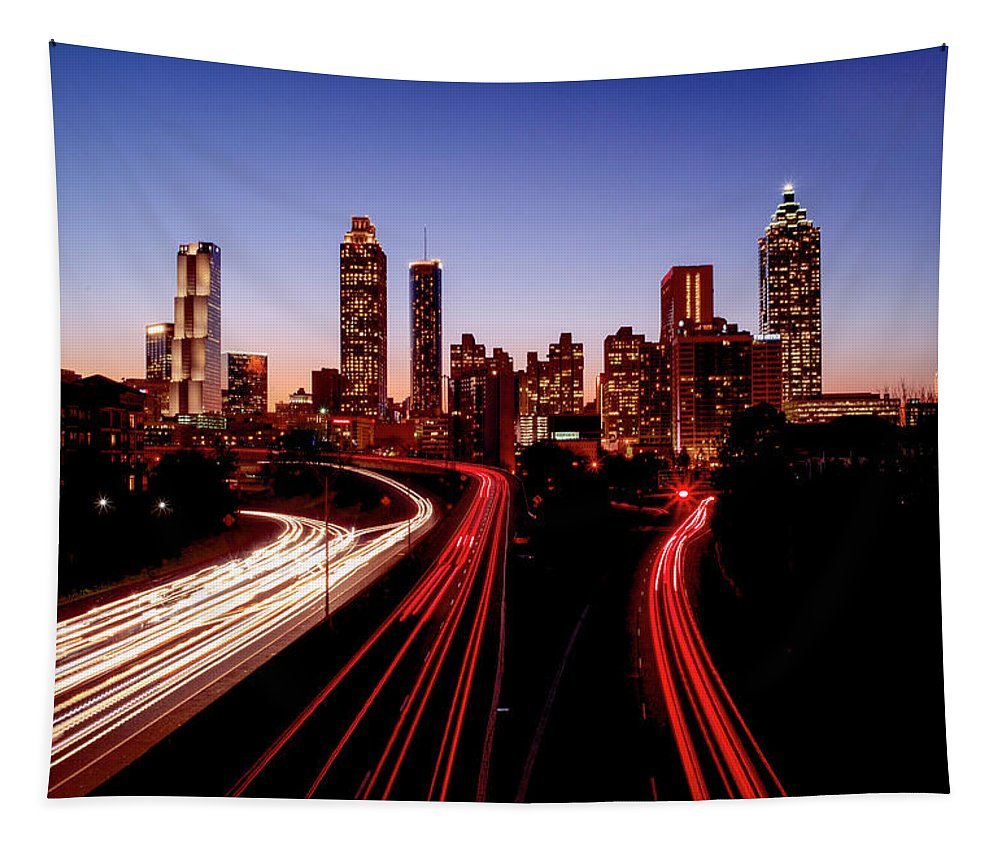 Atlanta At Night - Tapestry - sevenart-studio