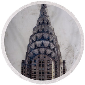 Chrysler Building - Round Beach Towel - sevenart-studio