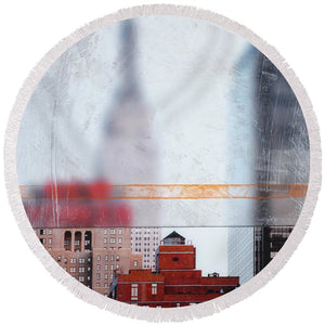 Empire State Blur - Round Beach Towel - SEVENART STUDIO