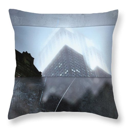 Empire State Fog - Throw Pillow - sevenart-studio