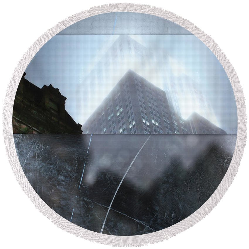 Empire State Fog - Round Beach Towel - sevenart-studio