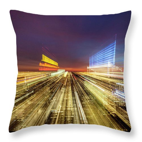 Flying Over New York  - Throw Pillow - SEVENART STUDIO