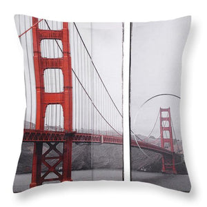 Golden Gate Red - Throw Pillow - SEVENART STUDIO