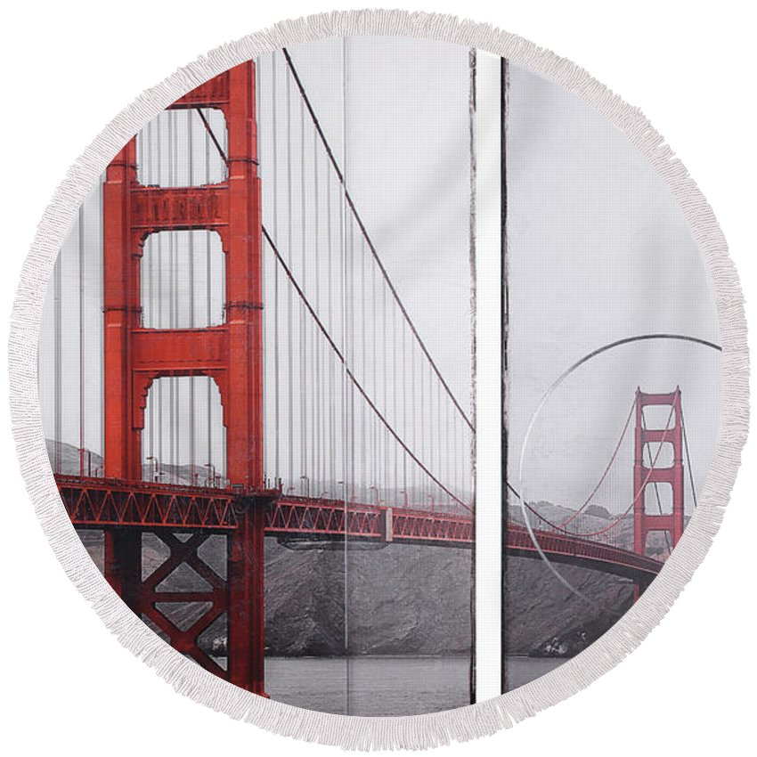 Golden Gate Red - Round Beach Towel - sevenart-studio