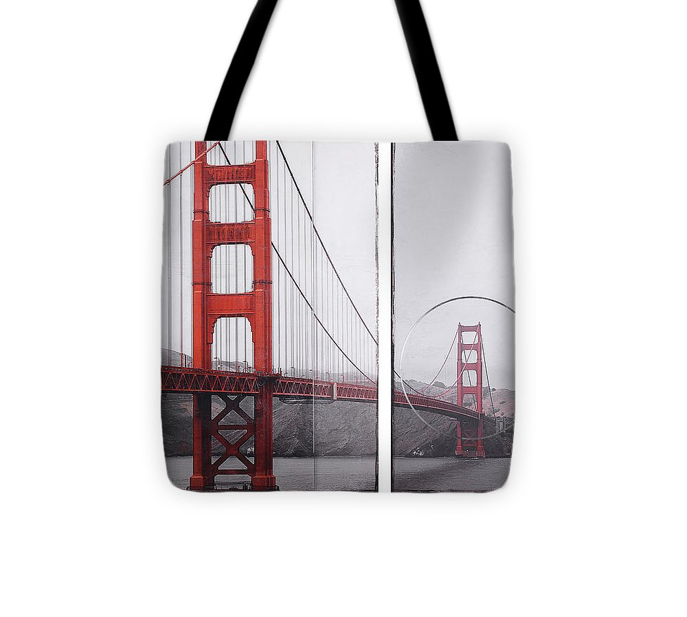 Golden Gate Red - Tote Bag - SEVENART STUDIO