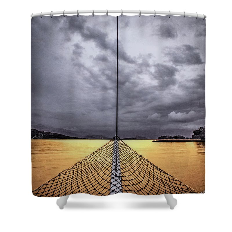 Golden Sail - Shower Curtain - SEVENART STUDIO