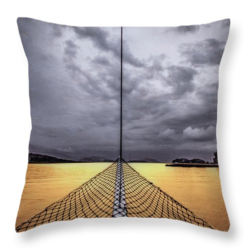 Golden Sail - Throw Pillow - SEVENART STUDIO