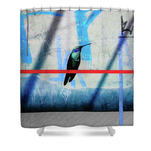 Humming Bird Grafitti - Shower Curtain - SEVENART STUDIO