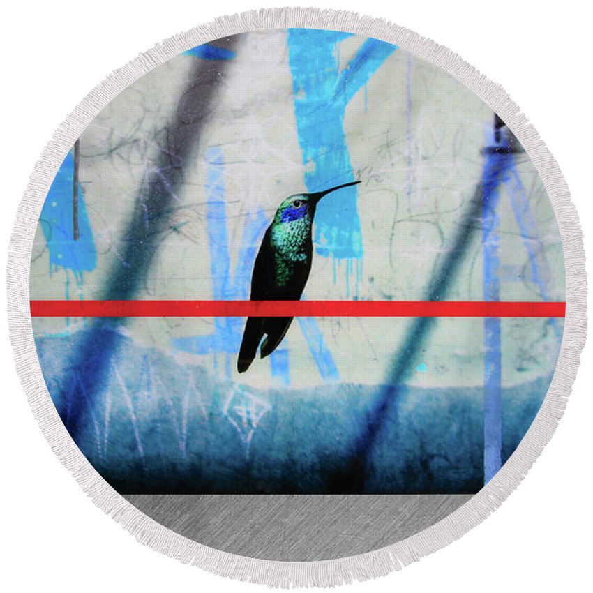 Humming Bird Grafitti - Round Beach Towel - SEVENART STUDIO