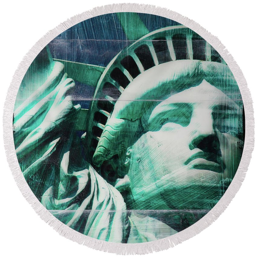 Lady Liberty - Round Beach Towel - SEVENART STUDIO