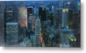 Manhattan At Night - Metal Print - SEVENART STUDIO